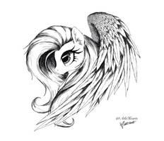 Fluttershy side sketch by AltoHearts