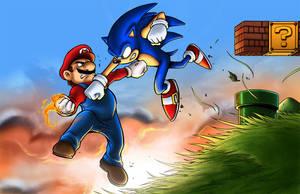 Mario vs Sonic by TPollockJR