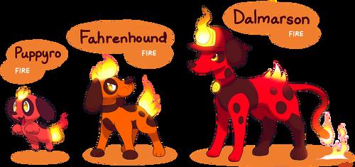 FAKEMON: Puppyro, Fahrenhound, Dalmarson by MAST3R-RAINB0W
