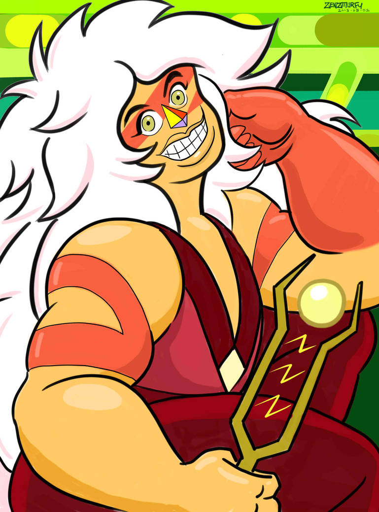 "When I was drawing Jasper in Garnet's visor ""SU Study 04 Garnet"" fav.me/d8rfu09 , I was noticing that Jasper slightly reminded me of Farrah Fawcett. So this painting is a parody of that famous..."
