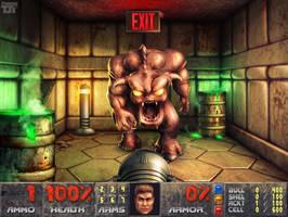 Doom - Pinky Demon Blocks the Exit by Elemental79
