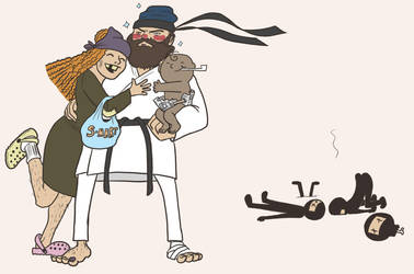 Commission: Hobo saves family from ninjas by RomanJones