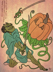 Patreon Commission: Zomburai vs Pumpkin Demon by RomanJones