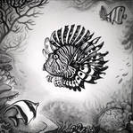 Lionfish in the coral reef by Yullapa