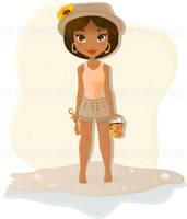 African American girl on beach by Melisendevector