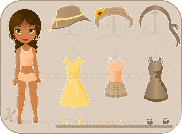African American Paper doll by Melisendevector