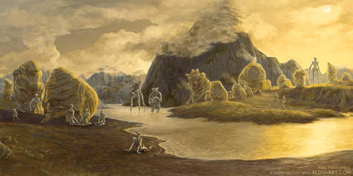 Monte Cook Games Invisible Sun - Gold Village by AldoK