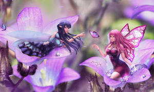 Yuri and Sayuri playing on a flower meadow by SweetyBat