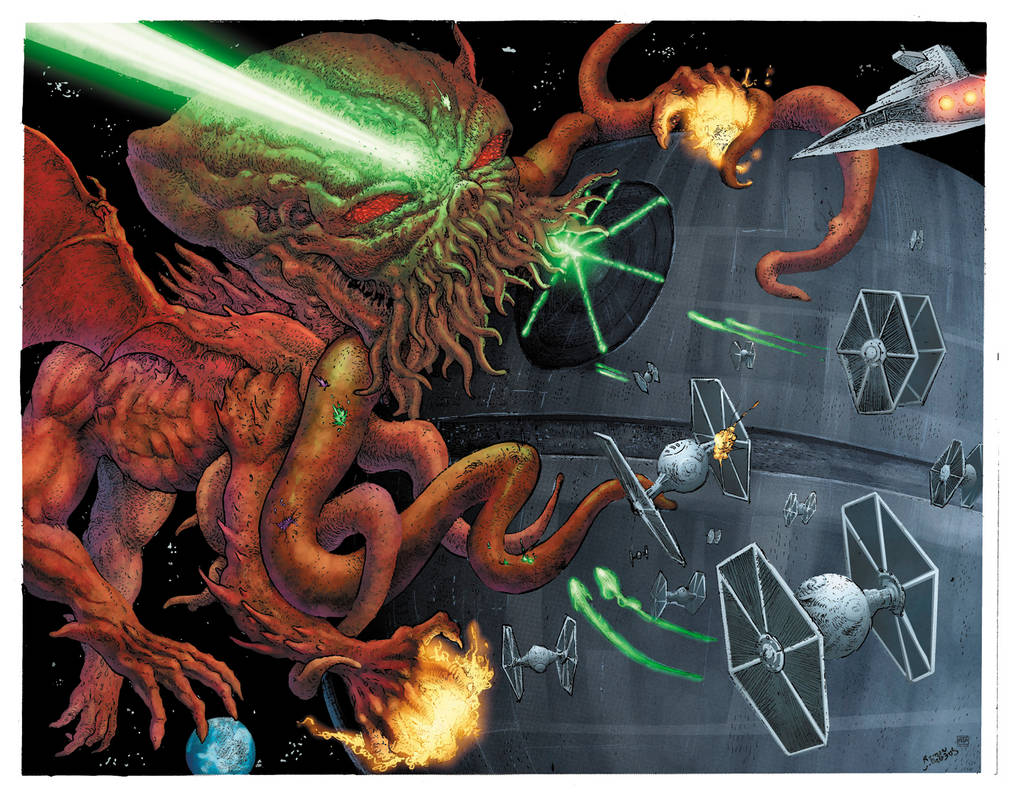 Cthulhu Versus the Deathstar by angryf