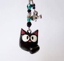 Choco cat cell phone charm by yael360