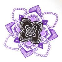 Purple black mandala zentangle by yael360