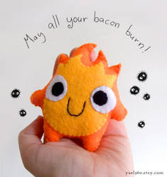 Calcifer Plushie on my hand by yael360