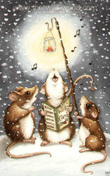 Carolling Mice by WildWoodArtsCo