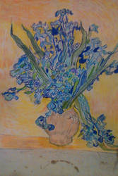 irises with yellow background by lothairebeaumont