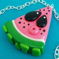 Watermelon Slice Necklace by True-Crimeberry
