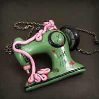Zombie Sewing Machine Necklace by True-Crimeberry