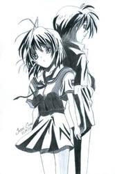 Nagisa and Tomoya - Clannad by JasonChanDraws