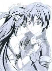 Asuna and Kirito - Sword Art Online by JasonChanDraws