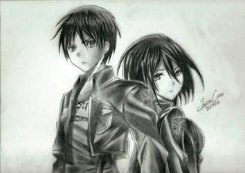 Eren and Mikasa - Shingeki no Kyojin by JasonChanDraws