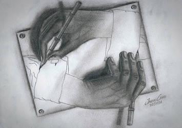 Escher - Drawing Hands by JasonChanDraws