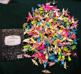 300 Post-it Paper Cranes by FlamingCatzIce
