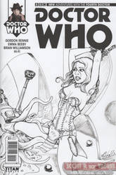 Doctor WHO Sketch Cover - Leela and Dalek by DocRedfield