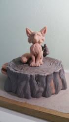Fox on a stump WIP by Lazerchief