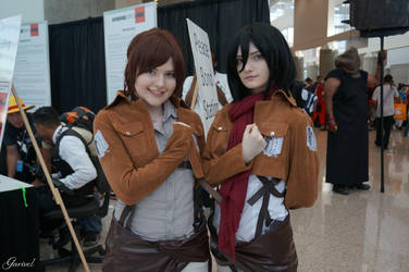 Sasha Braus and Mikasa Ackerman - Attack On Titan by Garivel