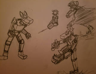 Junk bot and Canti doodles by gmangeoffrey
