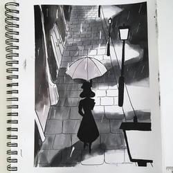 #NoirTober Day 11: The Rain by LuthienArtist