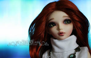 Redhead on Blue by etchedglass