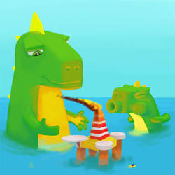 Mini GodZilla who blow out his first candle by TrucEtBidule