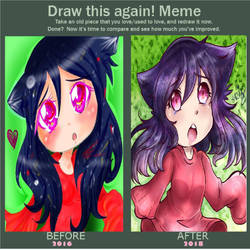 Improvement? 2016 to 2018 Draw this again meme by FujoshiAriaArt