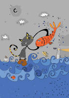 cat with fish ... by mohamed77