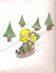 Smithers and Burns sledding by tangledupxinplaid