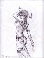 Lara Croft Reborn -sketch- by SilverMist7