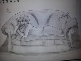 Elf girl on Couch by toad-says-hi