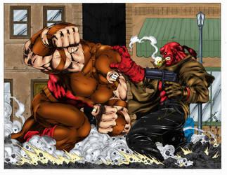 Juggernaut vs Hellboy by statman71