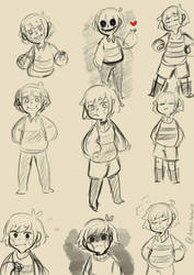 Undertale - Frisk, Chara, And Chisk Doodle by ArtisticAnimal101