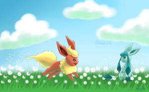 Flareon x Glaceon 2 by BluuKiss