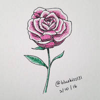 Inktober 2016: Day 2 - Rose by BluuKiss