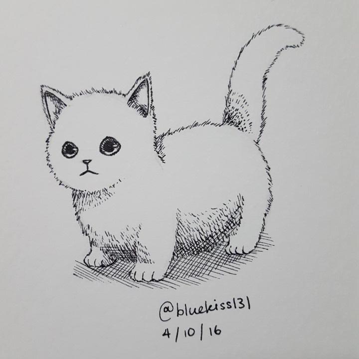 Inktober 2016: Day 4 - Kitten by BluuKiss