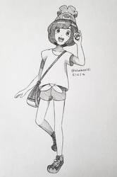 Inktober 2016: Day 8 - Pokemon Gen7 Female Trainer by BluuKiss