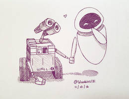 Inktober 2016: Day 11 - Wall-E and Eve by BluuKiss