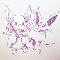 Inktober 2016: Day 17 - Mega Audino and Espeon by BluuKiss
