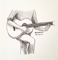 Inktober 2016: Day 29 - Guitar by BluuKiss