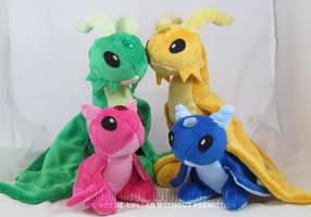 Various Gemstone Dragons by MagnaStorm