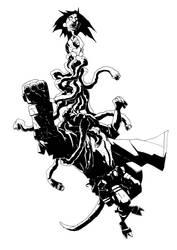 Hellboy vs Penanggal by Faezal