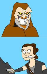 Rey Meets Luke by Scurvypiratehog