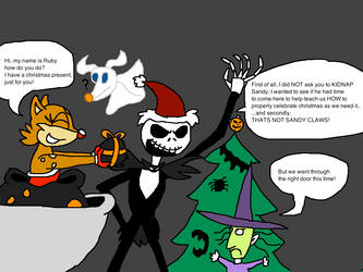 CE: Ruby brings Christmas to  Halloween town by Scurvypiratehog